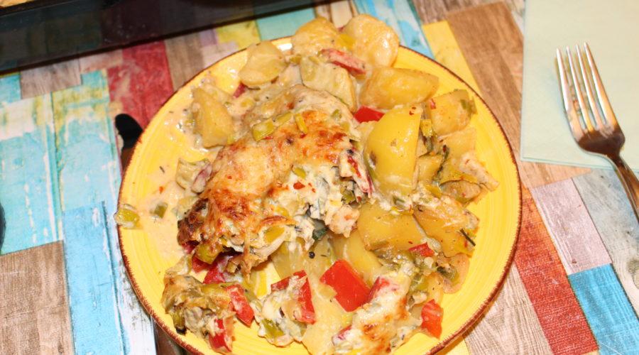 Lauchkartoffeln in Senfsoße mit Hähnchenfilet